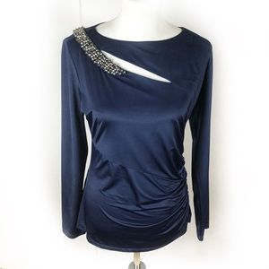NWT Cache Long Sleeve cut out rhinestone top
